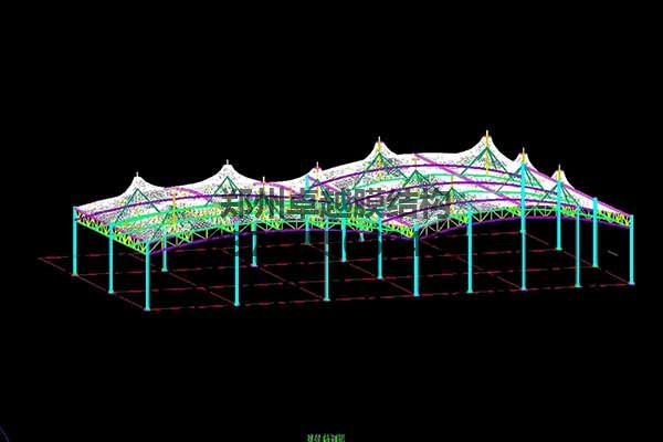 邵阳市新邵县法治广场门球场摩臣5罩棚/顶棚建筑轴测图