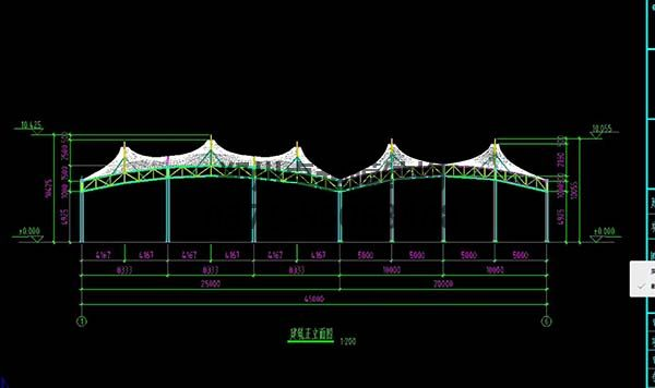 邵阳市新邵县法治广场门球场摩臣5罩棚/顶棚建筑正立面图